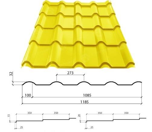 Технические характеристики металлочерепицы Афина